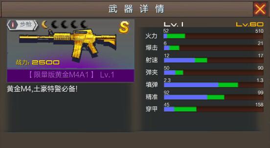 绝地枪王手游黄金M4A1武器属性及获取详解[图]